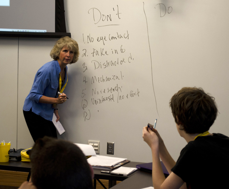 """Michele Day makes a """"Do's & Don'ts"""" list on interviewing with students."""