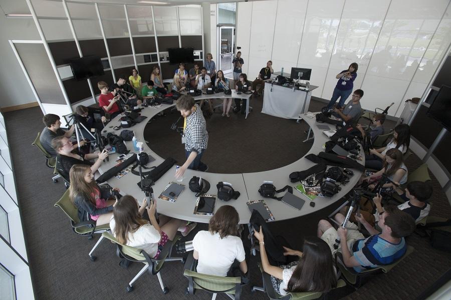 NKU Professor John Gibson teaches students how to use cameras to capture photos and video. Photo by Bruce Crippen