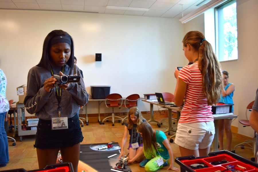 Workshop campers take part in filming and gathering materials for stories at the NKU cinsam Robotics Camp