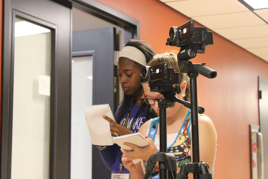 Workshop campers take part in filming and gathering materials for stories at the NKU Anthropology Museum