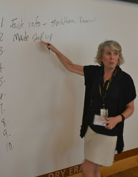 Instructor, Michelle Day, lists