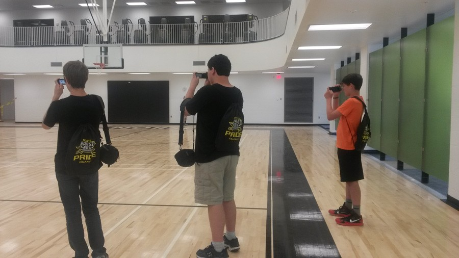 Jake Huseman, Amilcar Torres-Enrique, and Steven Richter learn the basics of photography at the new and improved NKU Rec Center.