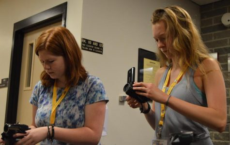 Liz Apollonio and Tricia Gullett setting up their cameras