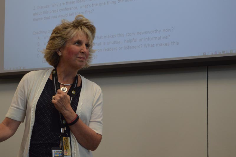 Media Professional Michele Day teaching the students what makes a good interview.