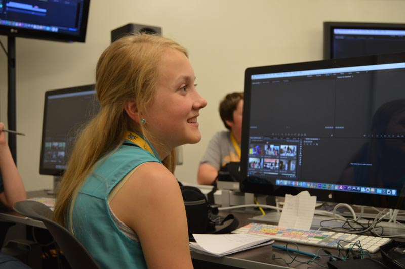 Sarah Krebs learning how to edit her footage