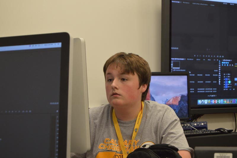 Nathan Davis learning how to edit his footage