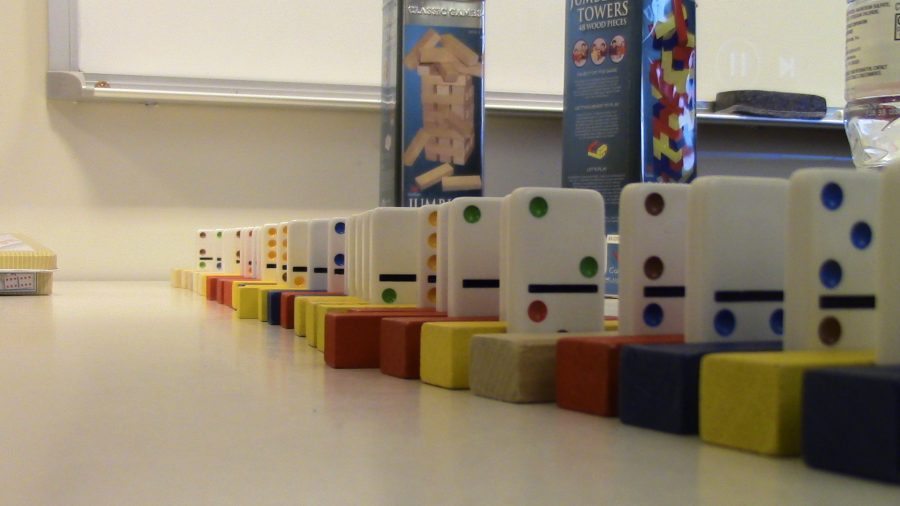 Dominoes are set up in the early childhood education center.