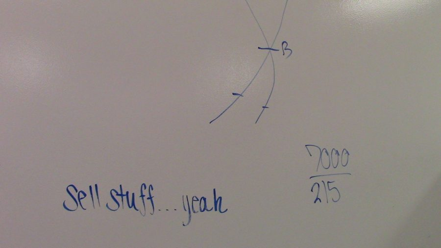 """Wall with equations, has note stating, """"sell stuff… yeah"""""""