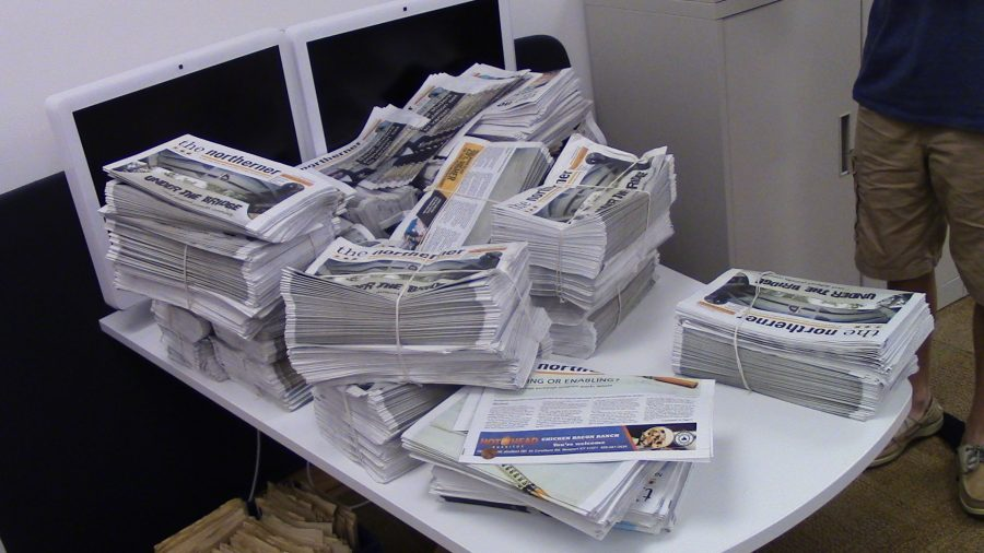 Inside the Northerner Office, fresh newspapers ready to be read.