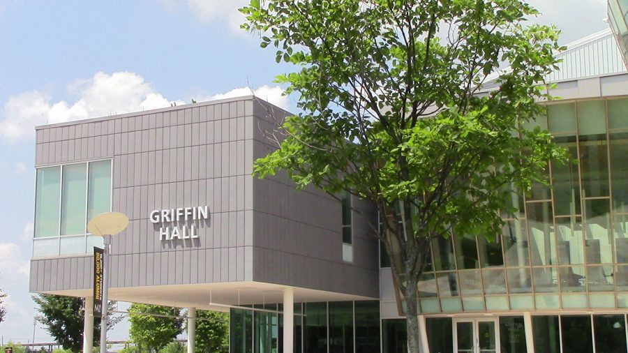 NKU's famous Griffin Hall, where the College of Informatics is found.