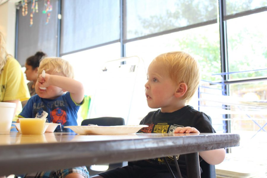 Ethan enjoys lunch at the Northern Kentucky University Daycare.