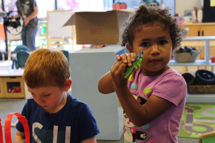 Kaliah, three-years-old enjoys her playtime at the NKU daycare.