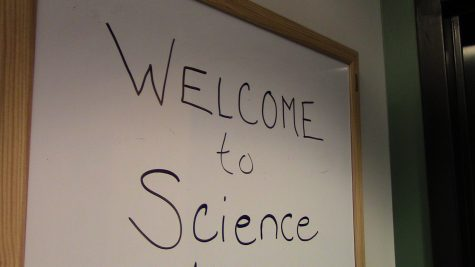 """Welcome to Science"" sign is written for the summer workshops, such as the Aero Girls."