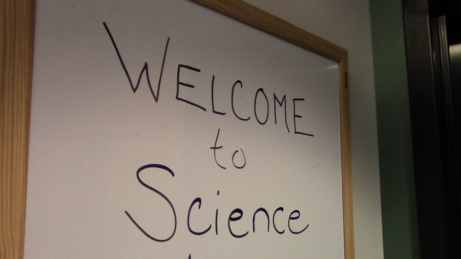 Welcome to Science sign is written for the summer workshops, such as the Aero Girls.