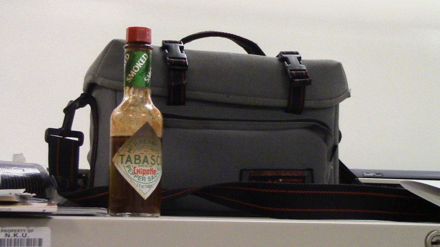 Tabasco and briefcase