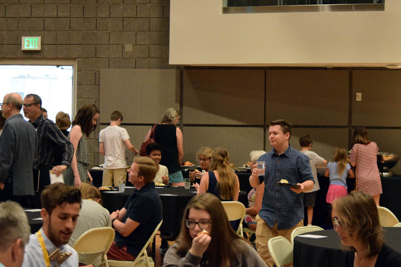 Students grab lunch before watching the awards ceremony.