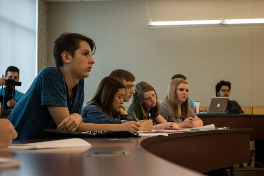 Students ask questions of NKUs sixth president.