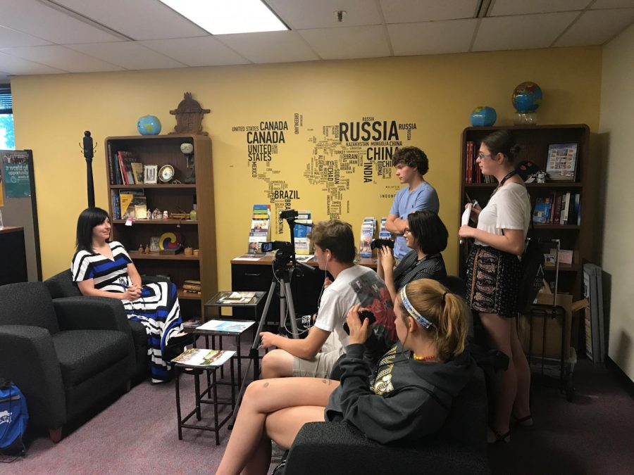 Students interview Candace Gibson of the NKU Study Abroad Office.