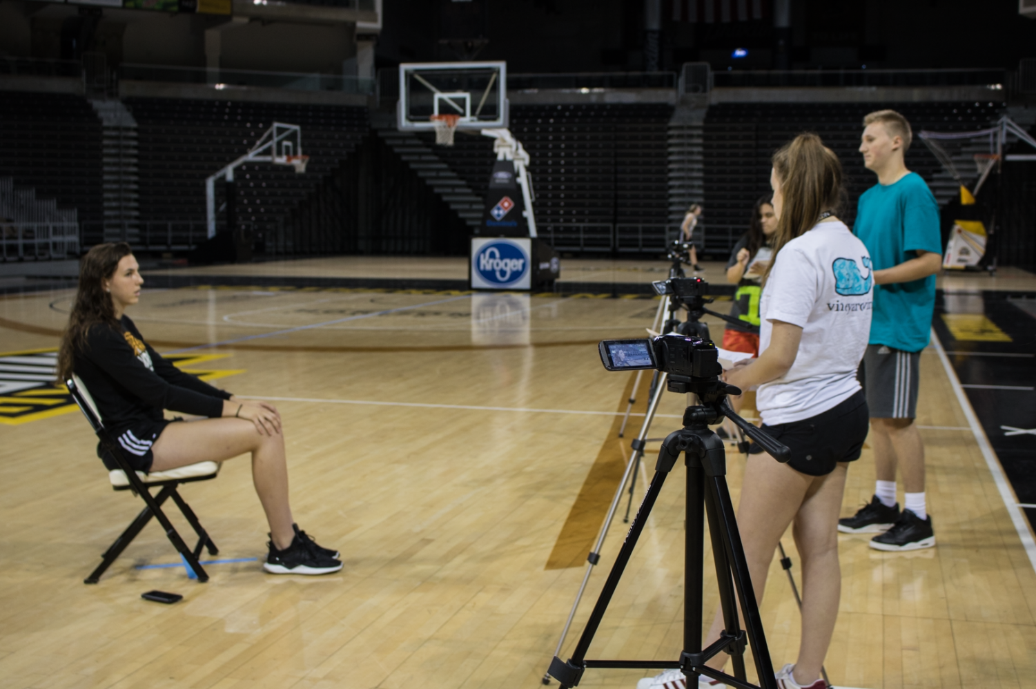 Students+interview+NKU+women%27s+basketball+forward+Grayson+Rose+at+BB%26T+Arena.