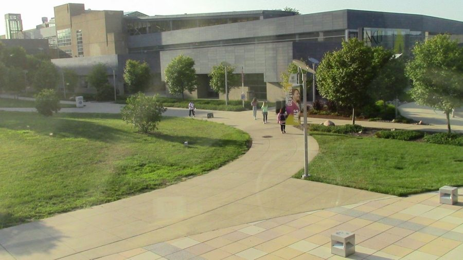 The view of the Student Union from Griffin Hall.