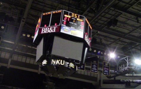 The scoreboard at BB&T Arena.